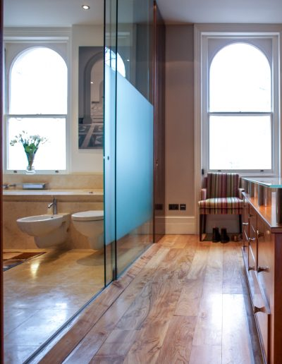Bathroom with Glass Partition to Dressing Room