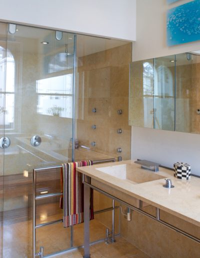 Marble wet Room with Glass Panel