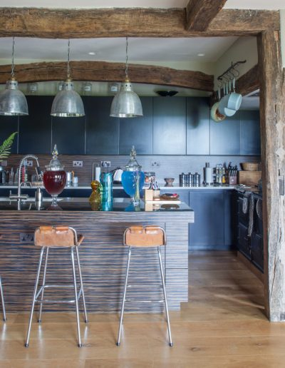 kitchen with industrial lampshades