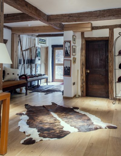 hall with animal skin rug