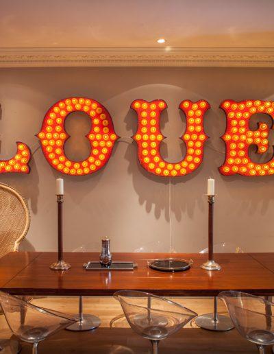 Love Glassware Artwork in Main Dining Area