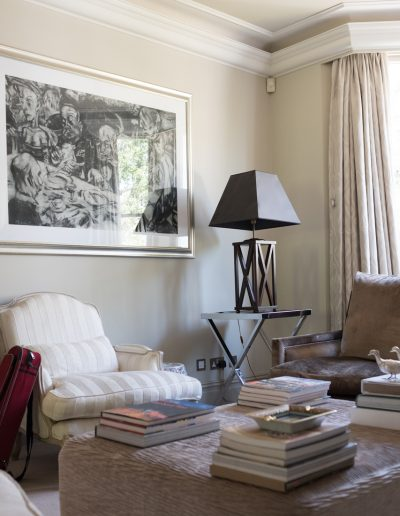 soft furnishings and table lamp
