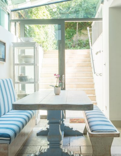 dining table and glass garden extension